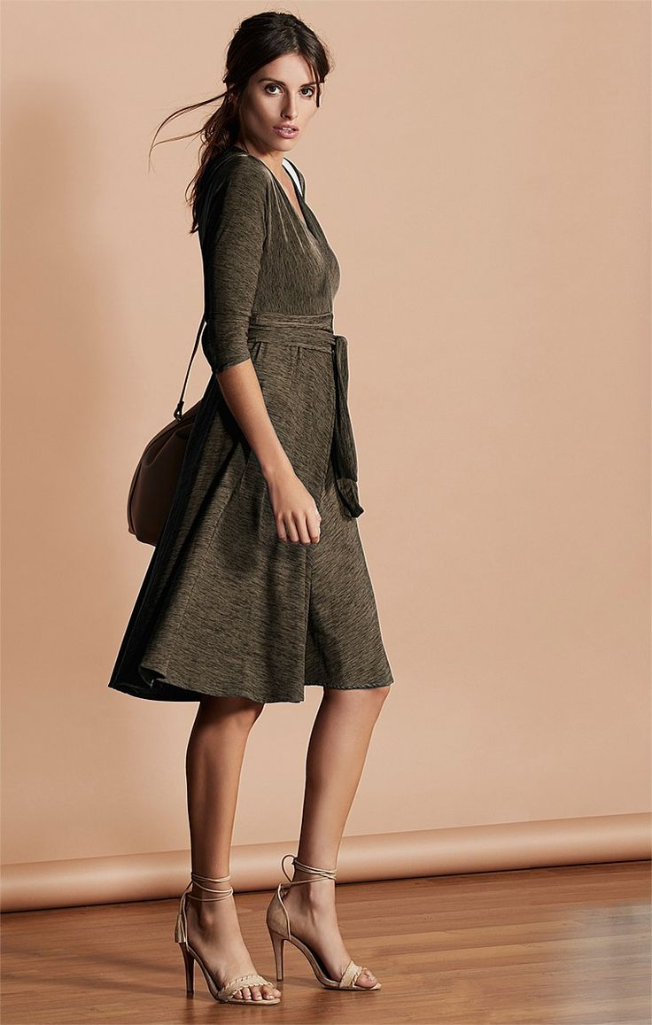 CORSO UMBERTO 3/4 SLEEVE V-NECK JERSEY A-LINE DRESS IN OLIVE
