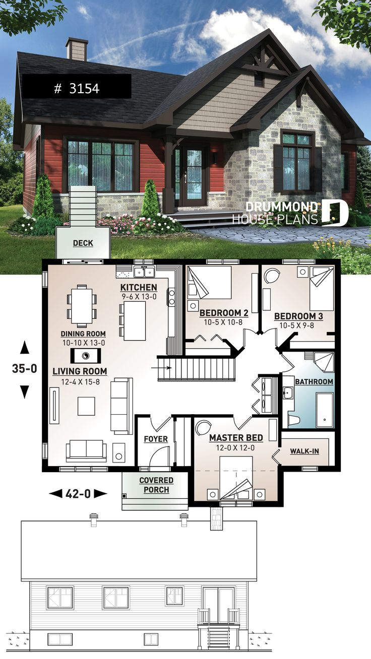 Country rustic home design with 3 bedroom and fireplace