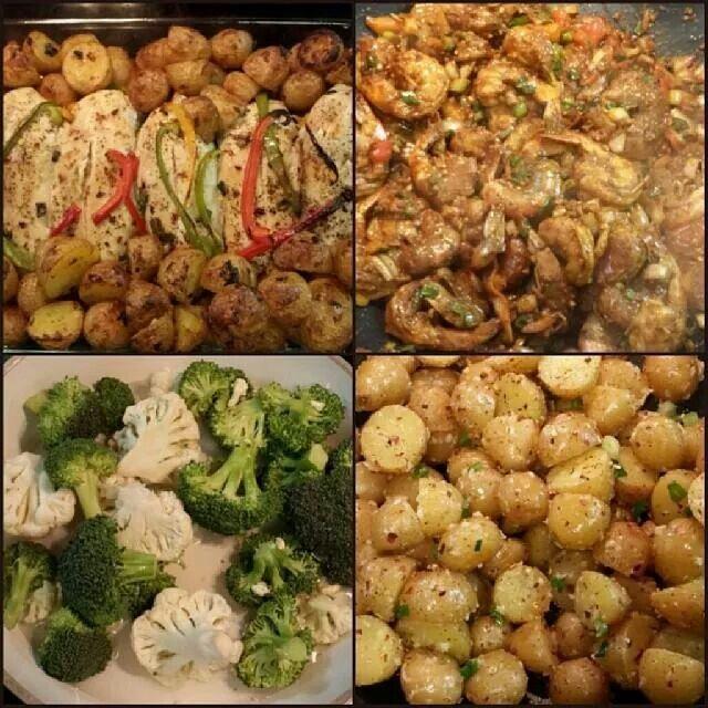 #garlicpotatoes #bakedchicken #peppershrimp #broccoli #cauliflower