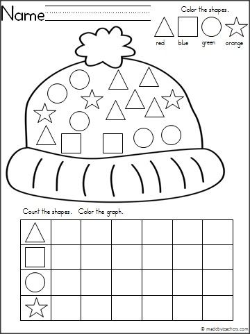 This is a winter hat theme graphing shapes activity for your Kindergarten students.  It's a wonderful math activity for any winter month.  Download it for free.