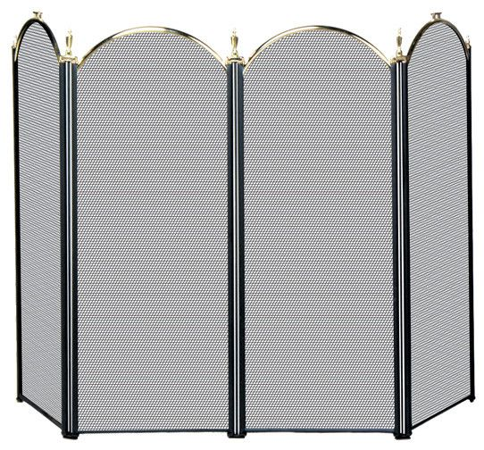 Uniflame® Arched 4-Panel Polished Brass & Black Finish Fireplace Fire Screen with Finials