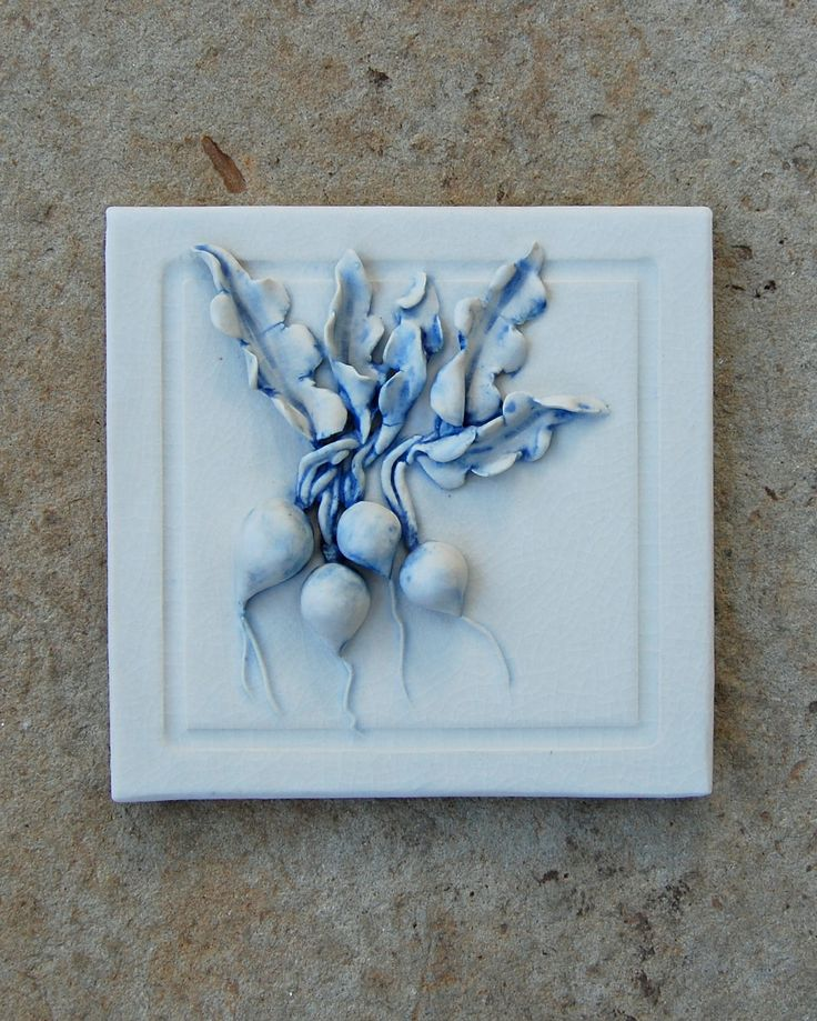"kristi rowland 6"" hand sculpted tile"
