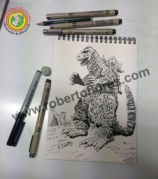 A #doodle devoted to #50s #Japanese #retro #scifi #movie #Godzilla.