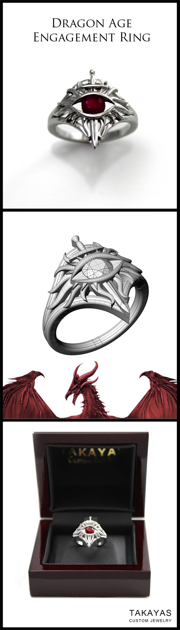 Custom handcrafted 14k white gold Dragon Age Inquisition inspired engagement ring by Takayas Custom Jewelry. The All Seeing Eye is a .50 ct round cut ruby.