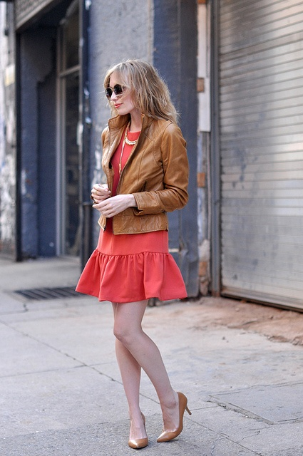 Chic Dress, ruffled with leather jacket