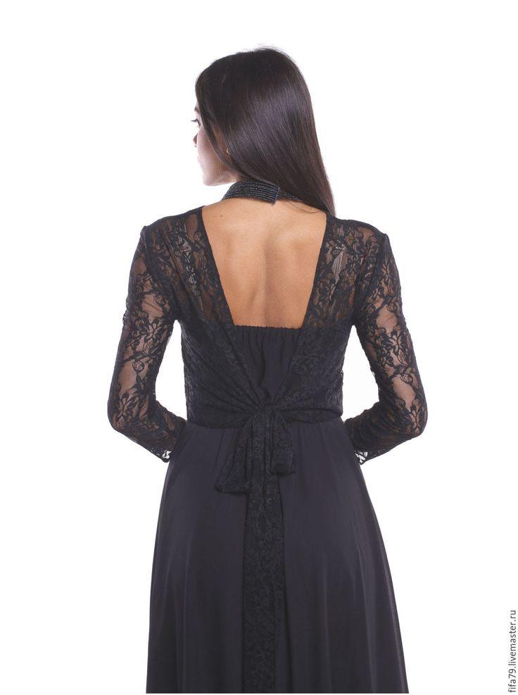 Купить Черное Кружевной Верх Длинное Платье с Открытой Спиной - черный, однотонный, платье для беременных