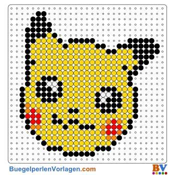Pikachu Gesicht Bügelperlen Vorlage. Auf buegelperlenvorlagen.com kannst du eine große Auswahl an Bügelperlen Vorlagen in PDF Format kostenlos herunterladen und ausdrucken.