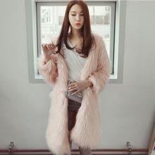 Trendy Sıcak Kış Pembe Sahte Kürk Parka Kadın Tilki Kürk ceket Artı Boyutu XXXL 4XL 5XL Uzun Yapay Rabbite Kürk Mantolar(China (Mainland))