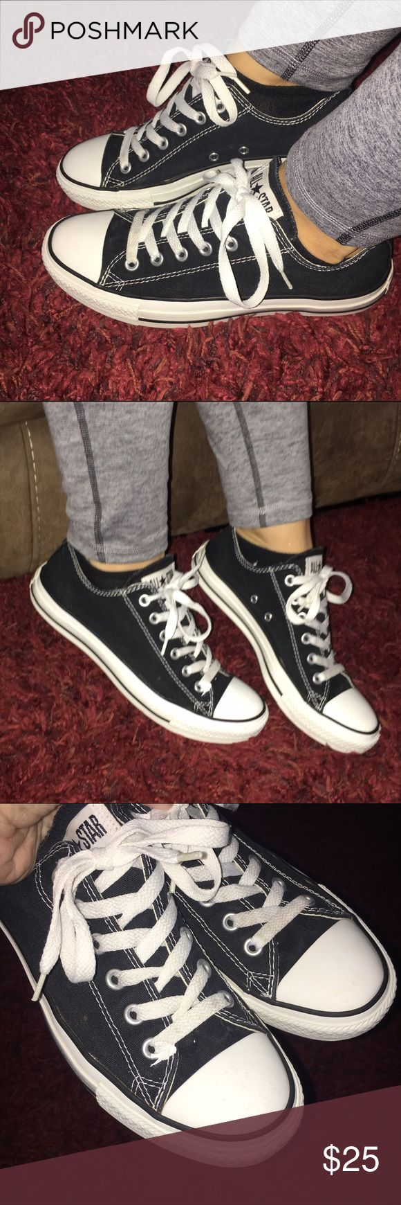 Black Converse women's 7 men's 9 Chuck Taylors Black Low top Converse All Stars shoes. Excellent used condition other than a small spot of what looks like maybe paint on the top of the show (shown in the 3rd picture) It's right beside the laces. My daughter can't remember. 😂 These are a 7 in men's and a 9 in ladies. Converse Shoes Sneakers