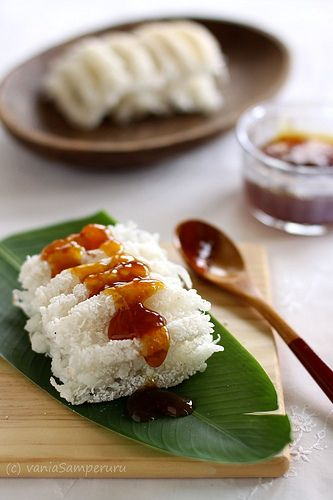 Indonesian food - Kue Rangi (Coconut Cake with Brown Sugar Sauce)