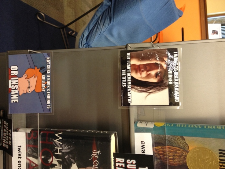 Meme Themes, teen library display.  Books based off different internet memes.