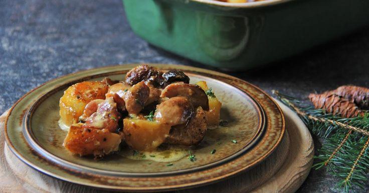 Huby zapečené so zemiakmi a smotanou