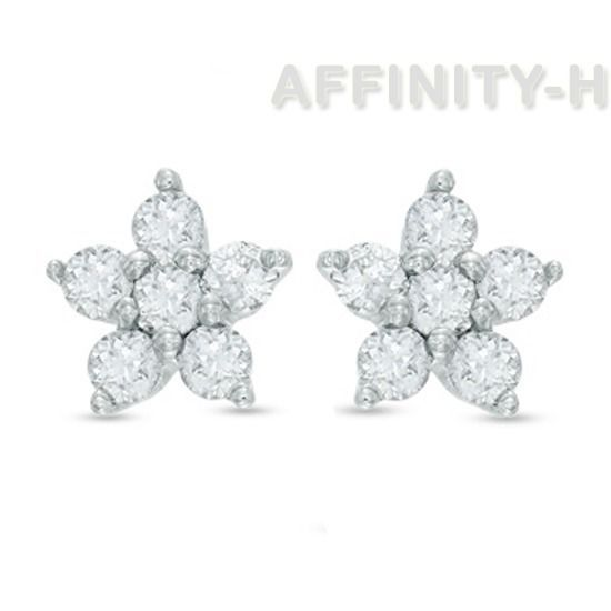 0.12 Ct Round Cut D/VVS1 Diamond Flower 10K White Gold Over Stud Earrings $999 #AffinityHomeShopping #Stud #EngagementWeddingAnniversaryMemorialDay