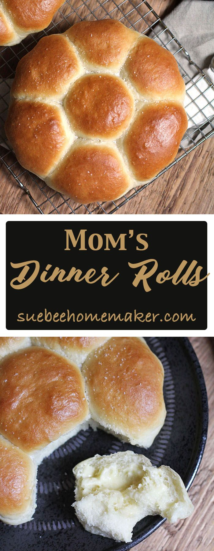 Mom's Dinner Rolls are soft and fluffy, and are a perfect accompaniment to holiday dinners. Eat them as little sandwiches or plain with a pat of butter.