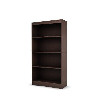 south shore axess collection 4 shelf bookcase chocolate. Black Bedroom Furniture Sets. Home Design Ideas