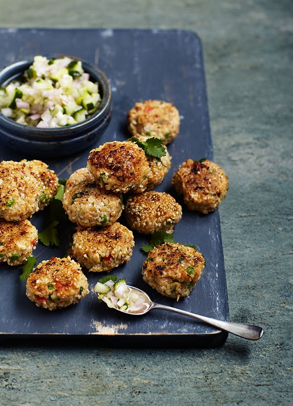 Thai-style fishcakes with sweet and sour cucumber pickle: Thai fishcakes make brilliant party food or a dinner party starter as you can fry them in advance and keep warm in the oven. The easy cucumber pickle adds an authentic Southeast Asian touch.