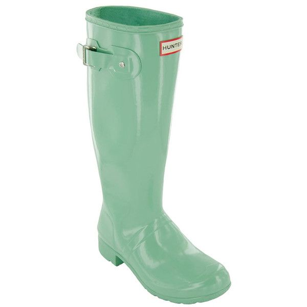 Women's Hunter Women's Rain Boots ($110) ❤ liked on Polyvore featuring shoes, boots, succulent green, tall shoes, wellies boots, tall rubber boots, green wellington boots and green boots