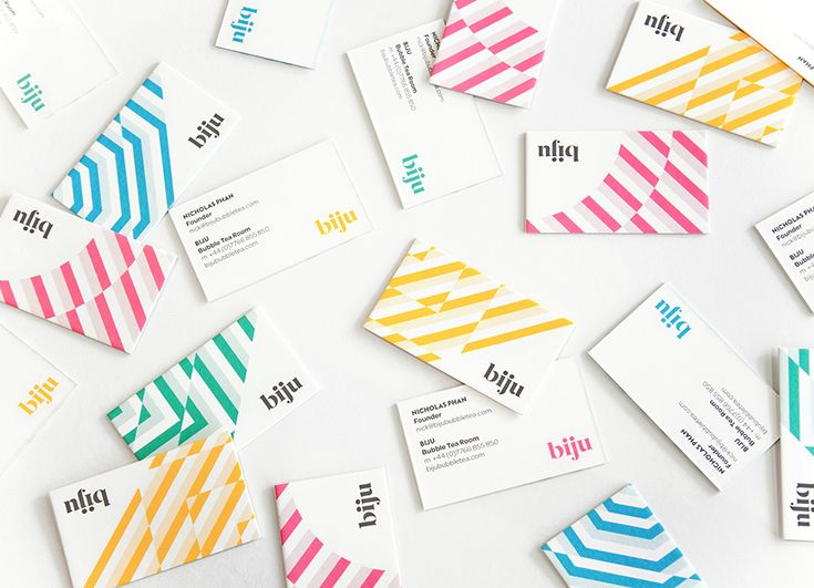 Logo, stationery, packaging and interior direction by ico for British bubble tea brand Biju