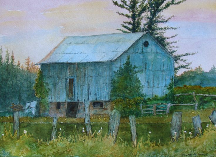 "Original Watercolour - framed $350.  ""Ontario Sunset Barn""  by Dennis Kalichuk"