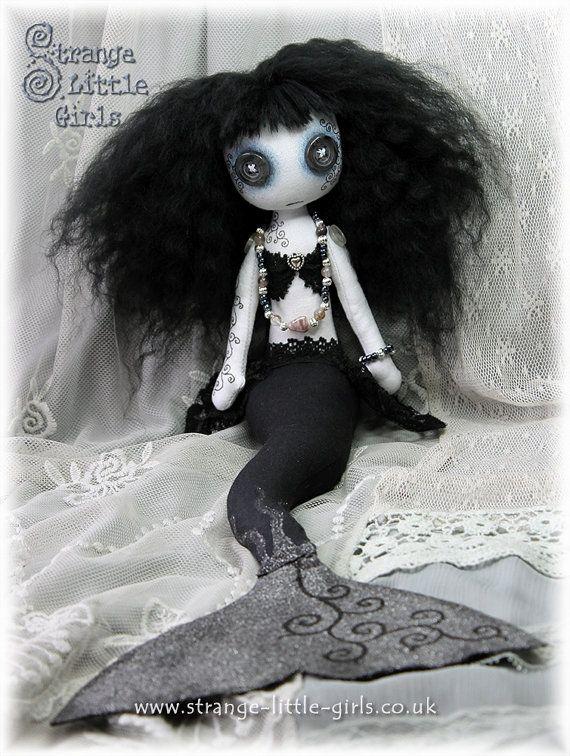 Gothic cloth mermaid art doll with button eyes by StrangeLittleGirlsUK