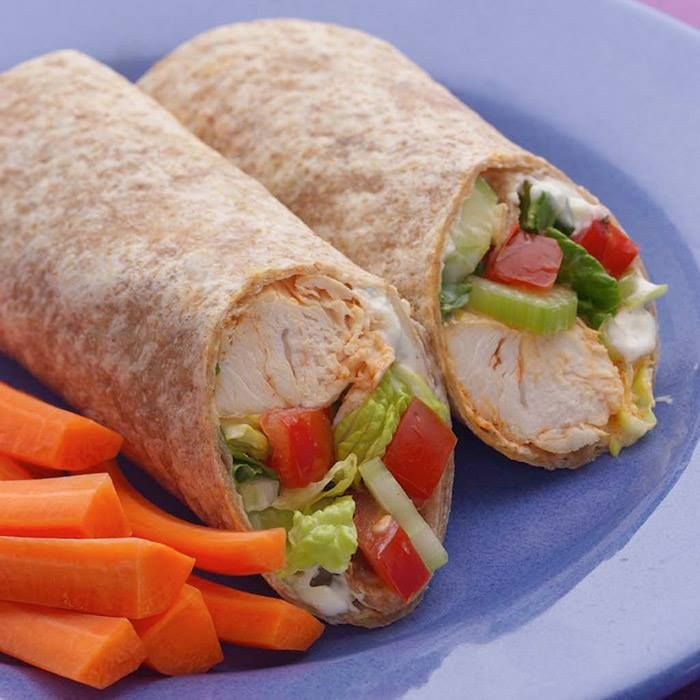 Buffalo Chicken Wrap | This wrap recipe is not only low calorie and low cholesterol, it's also an everyday favorite! Our recipe gives you a spicy and fiery combination of buffalo chicken in a modern wrap.