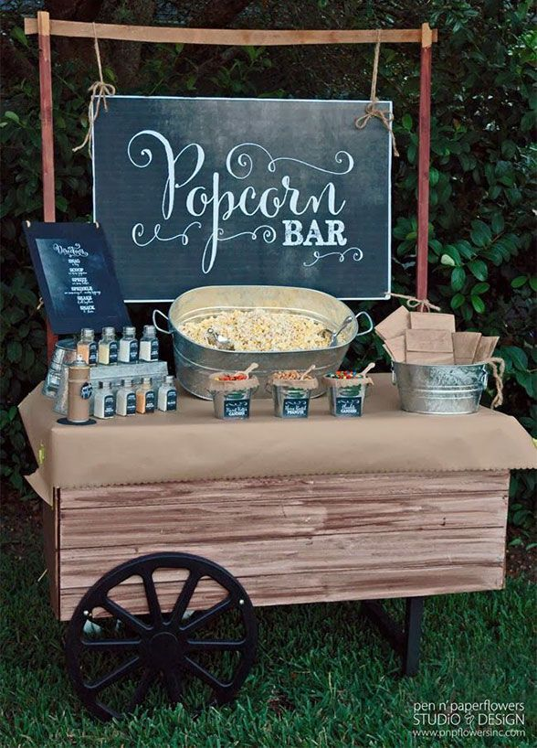 10 Food Station Ideas Guests Will Go Crazy For: Crunchy, chewy and oh-so satisfying guests will be popping over to your popcorn station!
