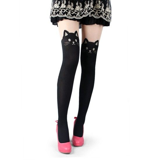 Cat Tails Tights (Black)