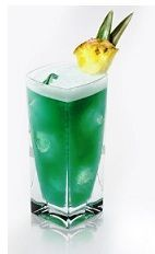 The Blue Italian Heaven is a tropical green drink made from Disaronno, dark rum, blue curacao, pineapple juice and lime, and served over ice in a highball glass. 1/2 oz Amaretto (Disaronno) 1 oz Dark Rum 1/2 oz Blue Curacao 3 oz Pineapple Juice 1/2 oz Lime Juice 1 slice Pineapple Garnish: Pineapple Glass: Highball Glass