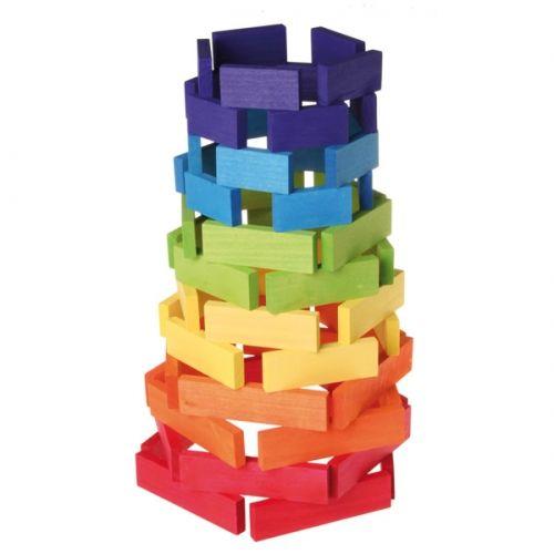 [Grimm's Spiel & Holz Design グリムス社]ドミノ積み木 大 カラー 60P ドイツ・グリムス社の美しい色彩の板状のドミノ積み木60ピースセット。集中力、想像力、手先の訓練に最適のシンプルな形の積み木です。