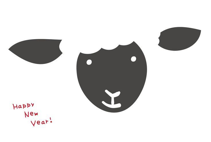 sheep//年賀素材館/年賀状テンプレート「未(ひつじ)」羊のアップ2