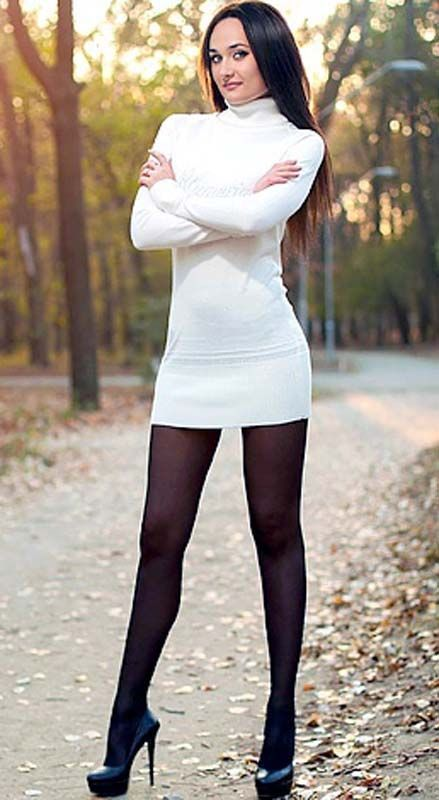 Black Pantyhose And White Outfit Love This Combination