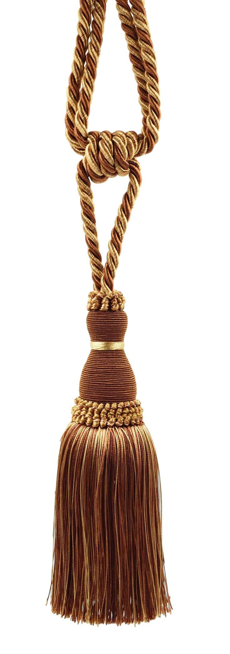 Elegant Brown, Light Gold Curtain & Drapery Tassel Tieback / 8 Inch tassel, 30 Inch Spread (embrace) Style# TBH8 - English Toffee 08