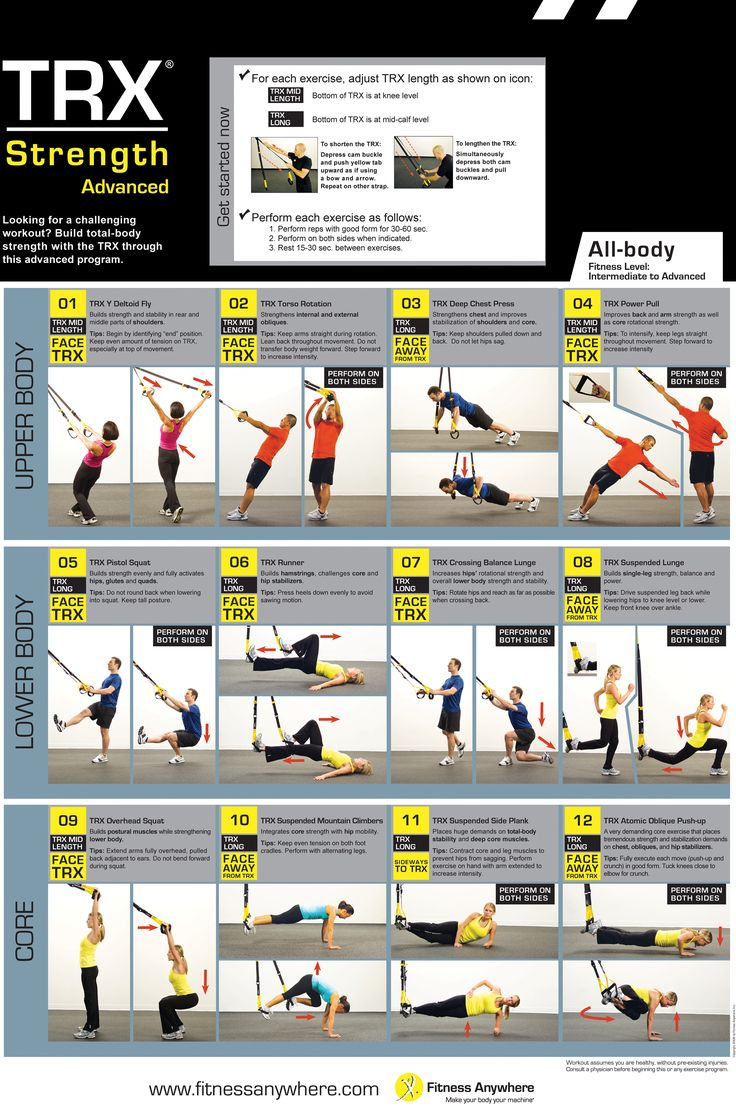 TRX is awesome, full body workout's with easy adjustable resistance!