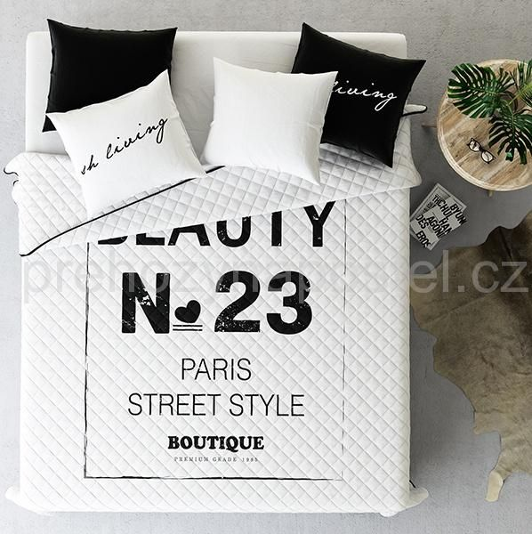 Přehoz na manželskou postel v bílé barvě BEAUTY