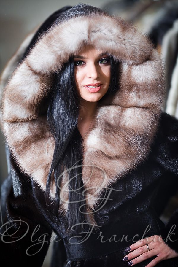 Scanblack Mink Euro-length Coat with Hood of European Sable - Style 01-15 from Olga Franchuk ($2500).
