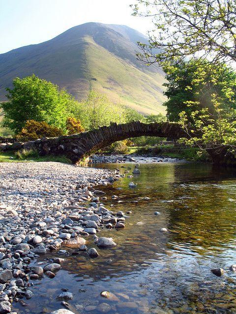 Packhorse Bridge at Wasdale Head & Kirk Fell, Lake District, Cumbria, England