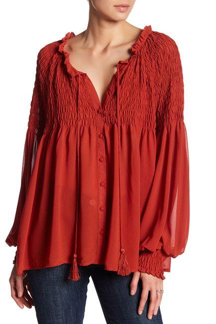 Love this smocked blouse | Available in Orange or Black | @NordstromRack | #NordstromRack