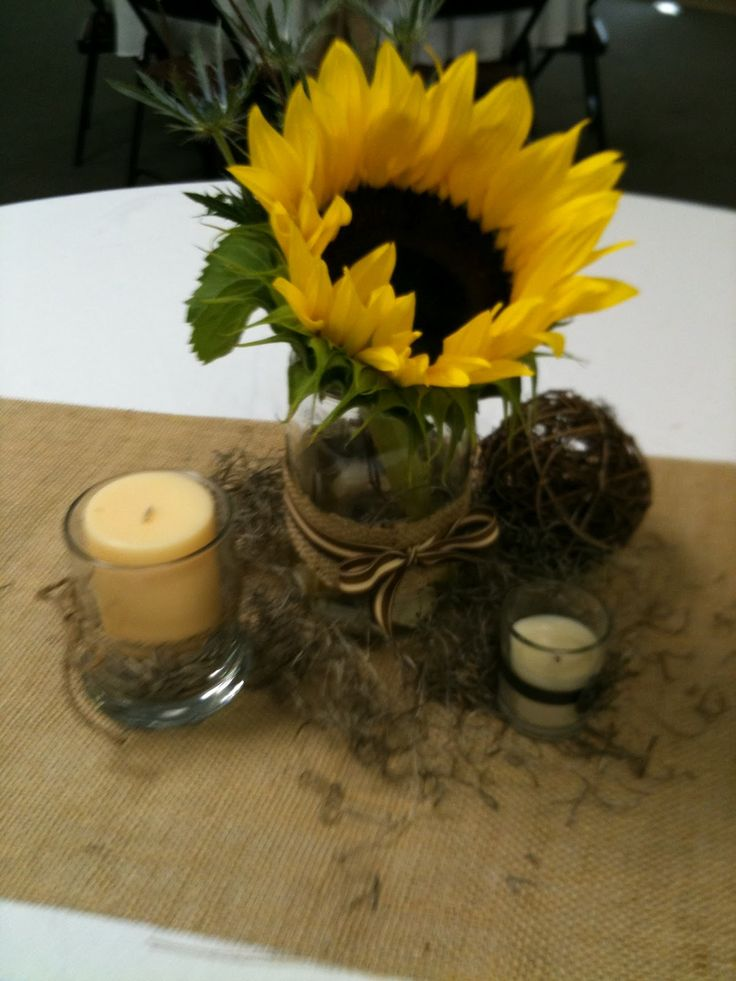 Sunflower centerpieces in mason jars jar i