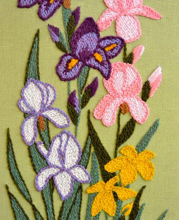 Vintage Crewel Embroidery Purple Pink & White by Splinkville
