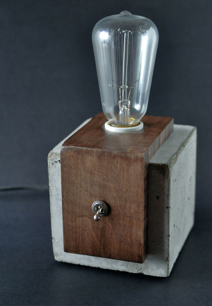 Concrete & Wood Cube Lamp – Table Lamp – Free Shipping Canada and US