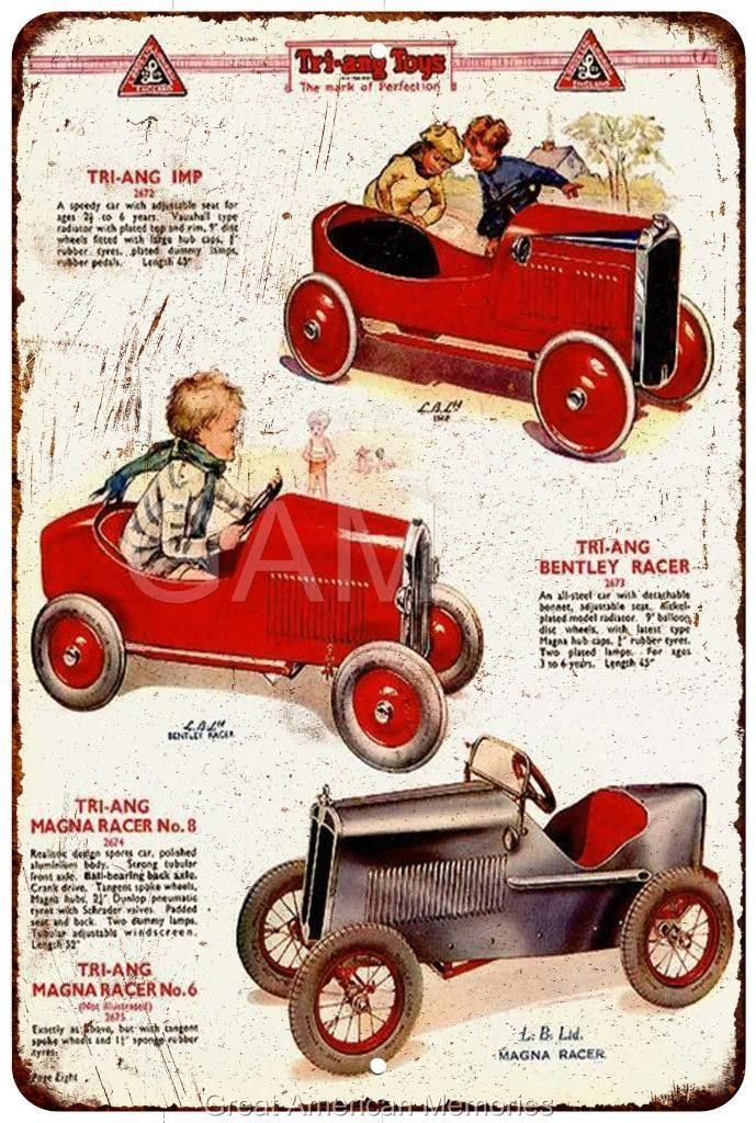 1930's Tri Ang Pedal Cars Vintage Look Reproduction 8x12 Metal Sign 8120941