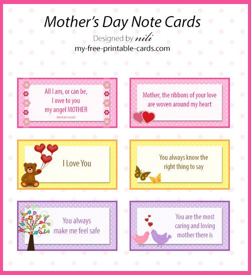 free printable mother 39 s day note cards my free printable free printable mother 39 s. Black Bedroom Furniture Sets. Home Design Ideas