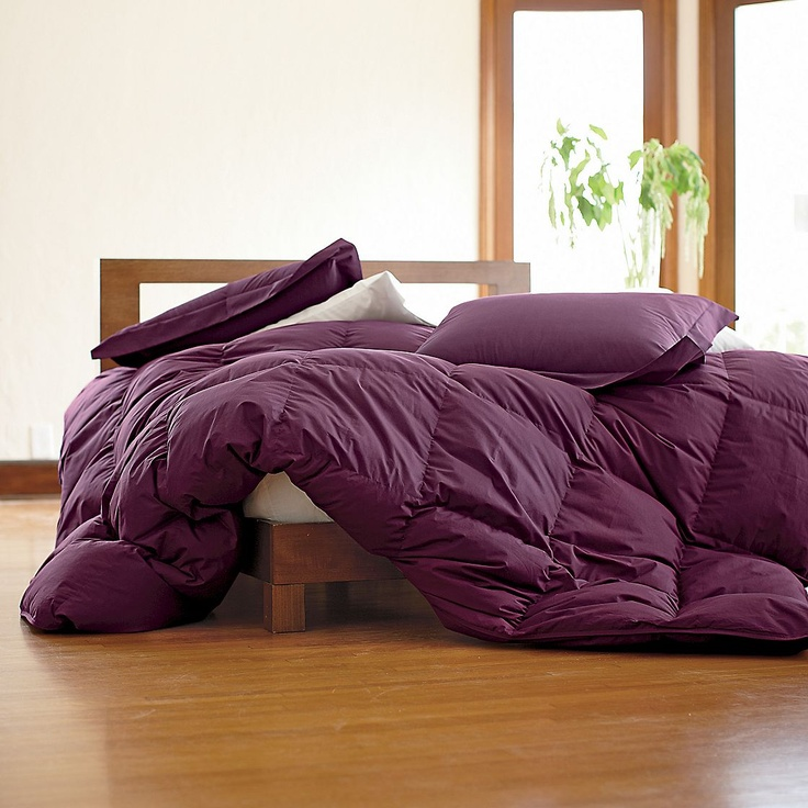 $174 Baffled Square Down Comforter | The Company Store (grey, teal, violet). Please wrap me in your fluffy warmth!