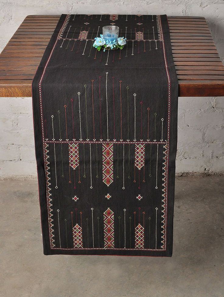 Black Jat Embroidery Cotton Table Runner - 52in x 16in: India