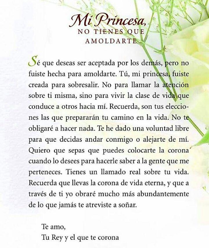 Princesa no tienes que amoldarte. Una #CartaDeAmor de Dios para ti  Feliz Domingo! #SheriRose  #LecturaDelDía