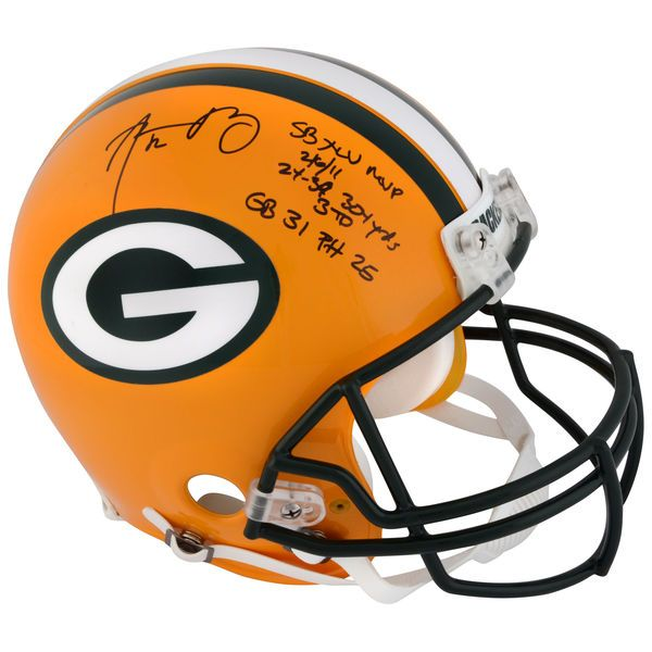 "Aaron Rodgers Green Bay Packers Fanatics Authentic Autographed Riddell Pro-Line Helmet with ""Super Bowl Stats"" Inscription - Limited Edition #2-11, 13-23 of 24 - $2699.99"