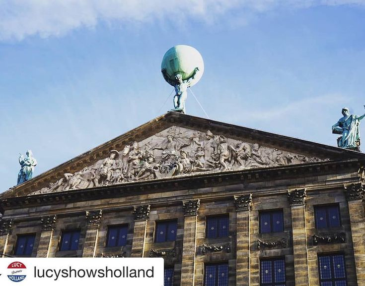 """#Repost @lucyshowsholland (@get_repost)  On top of  the westside of the Royal Palace( backside if you are on the Dam ) this statue of """" Atlas"""" with the globe on his shoulders reminds of the dominant position of Amsterdam in the Golden Age.#nederland #netherlands #niederlande #holland#hollanda #hollandia #holandia"""
