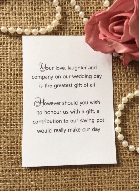 Wedding Gift List For Money : 25 /50 WEDDING GIFT MONEY POEM SMALL CARDS ASKING FOR MONEY CASH FOR ...