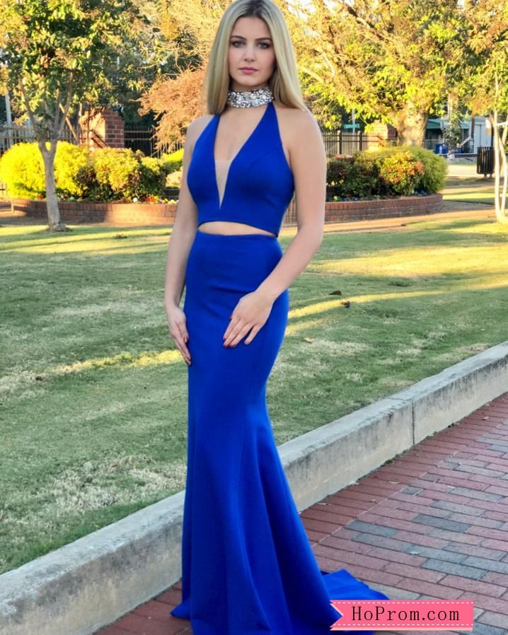 a277aa3d8a Two Piece High Halter Choker Neck Prom Dress Gown with V-neckline in ...
