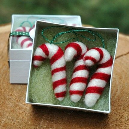 candy cane trio - needle felted christmas ornaments